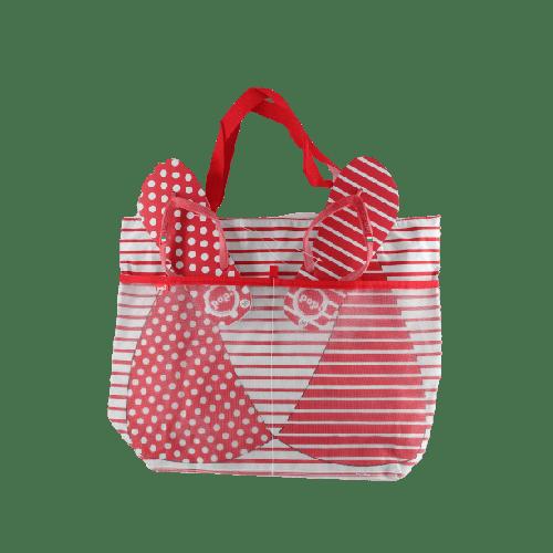 WOMEN BEACHWEAR COMBO SLIPPERS & BAG OFFER MODEL 1 RED