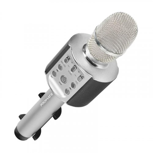 WIRELESS MICROPHONE KARAOKE 4.2 WITH LED LIGHT AND PHONE HOLDER 5W SPEAKER SILVER PROMATE
