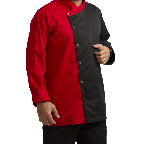 CHEF JACKET RED AND BLACK COLOR COMBINATION