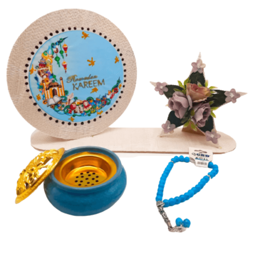 RAMADAN STAR GIFT WITH SCENT BURNER AND ROSARY FULL SET LIGHT BLUE