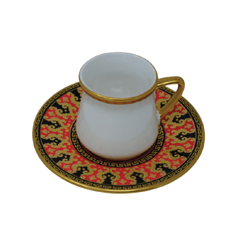 COFFEE CUP SET WITH HAND PAINTED SAUCER MULTI COLOR