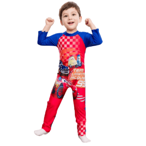 CARTOON CHARACTER ON SWIMWEAR WITH LONG SLEEVES FOR BOYS