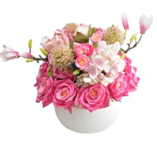 ELEGANT FLOWERS WITH CERAMIC WHITE POT