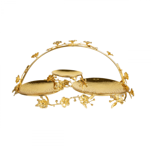 3 PLATES GOLD PLATED SERVING TRAY