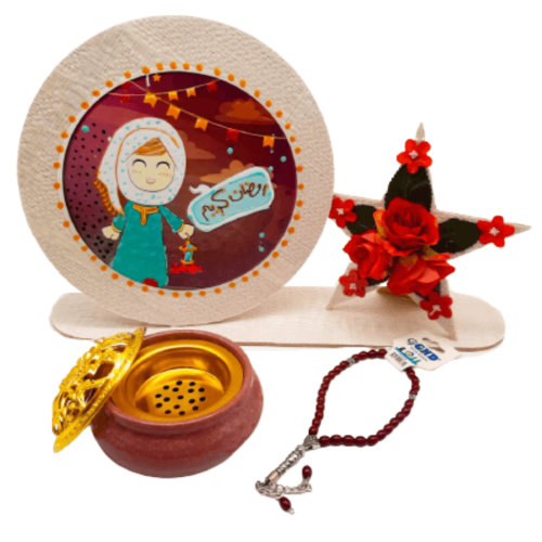RAMADAN STAR GIFT WITH SCENT BURNER AND ROSARY FULL SET RED