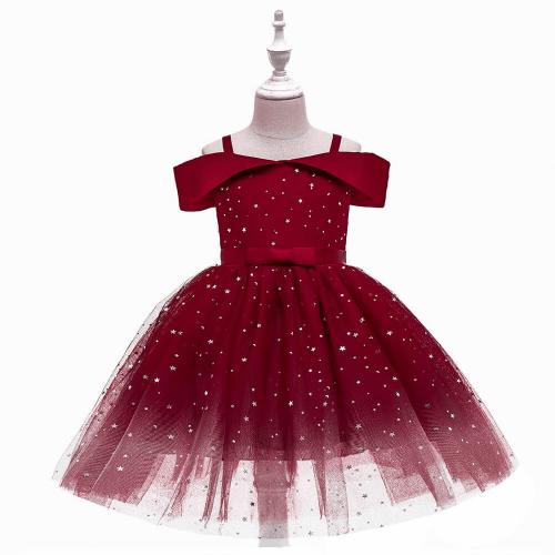 FROCK DRESS OFF-SHOULDER SEQUINED FOR GIRLS RED 3-5Y/O