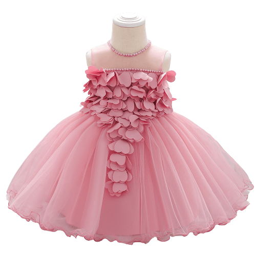 NEWBORN PARTY DRESS WITH FLOWER FOR BABY GIRLS 6M-18MONTHS