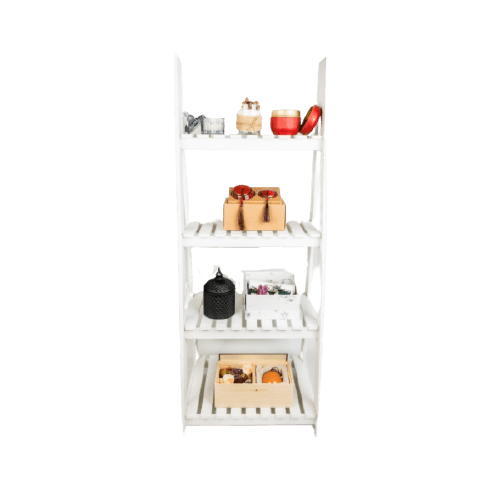 WOODEN STAND WITH SHELVES