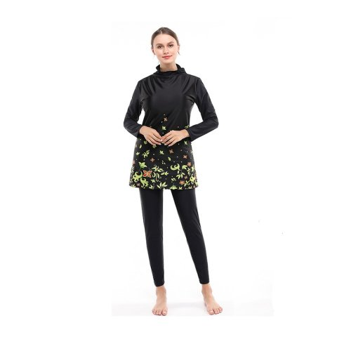HOODED SWIMWEAR SET WITH GREEN FLORAL PATTERN
