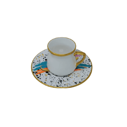 COFFEE CUP SET WITH SPRAY PAINT DOTS SAUCER MULTI COLOR