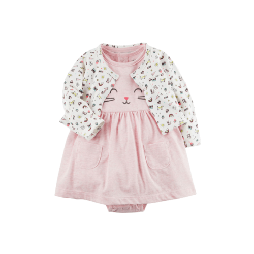 SHORT SLEEVE DRESS WITH COAT FOR BABY GIRL