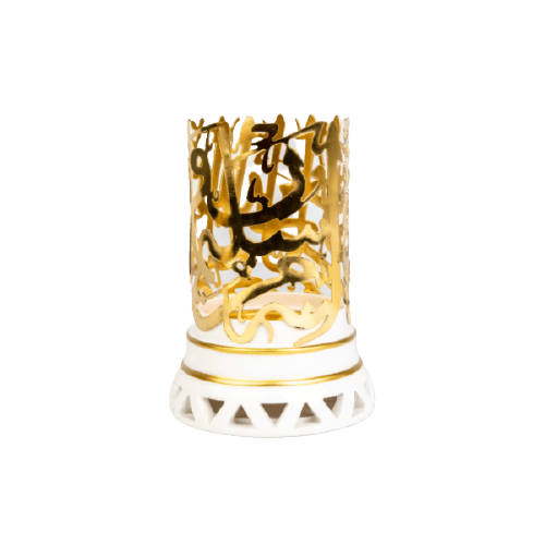 CERAMIC SCENT BURNER WITH METAL ARABIC LETTERS GOLD