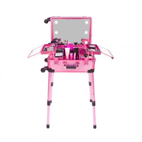 MAKEUP TROLLEY COSMETIC BOX PINK WITH STAND AND LIGHTS