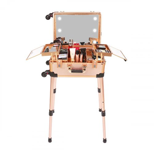 MAKEUP TROLLEY COSMETIC BOX ROSE GOLD WITH STAND AND LIGHTS