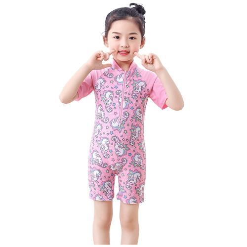 KIDS SMALL PRINT UNICORN SWIMWEAR FOR GIRLS PINK