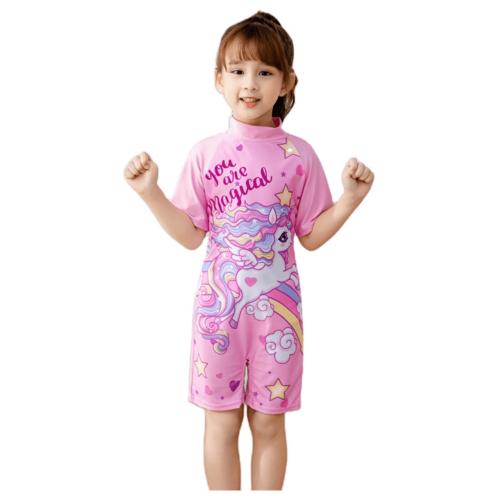 KIDS RAINBOW UNICORN SWIMWEAR FOR GIRLS SHORT SLEEVE PINK