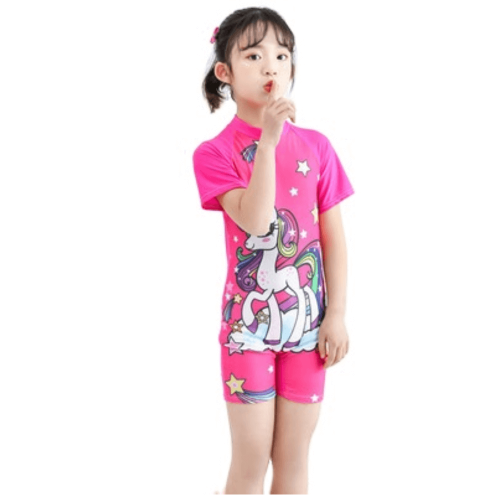 CARTOON CHARACTER ON SWIMWEAR FOR GIRLS WITH SHORT SLEEVES