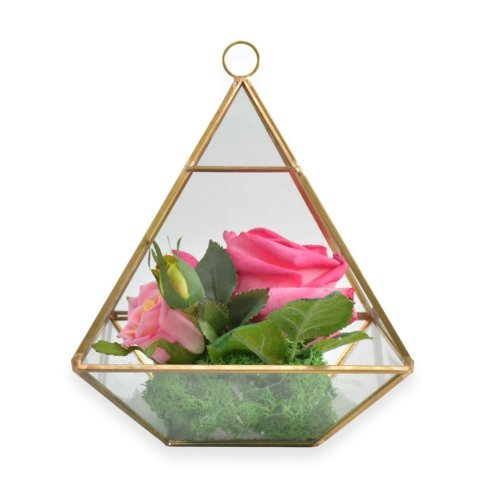 PINK ROSES WITH DECORATIVE GLASS