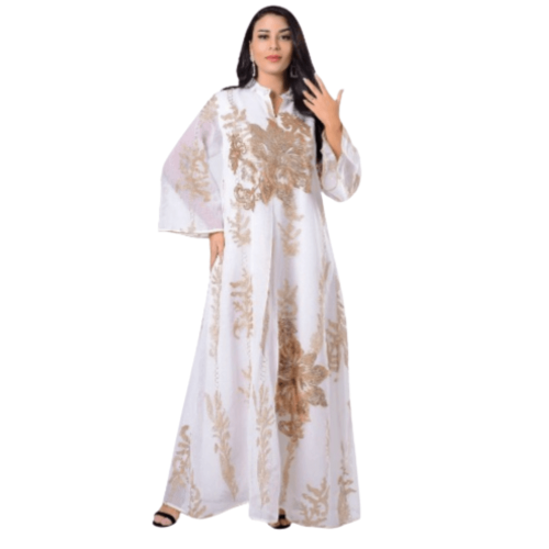 DOUBLE LAYER ABAYA EMBROIDERED EVENING WEAR