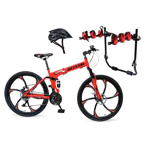BICYCLE FOLDING MOUNTAIN 26 INCH,HELMET AND MOUNTED BICYCLE CAR CARRIER RACK SET