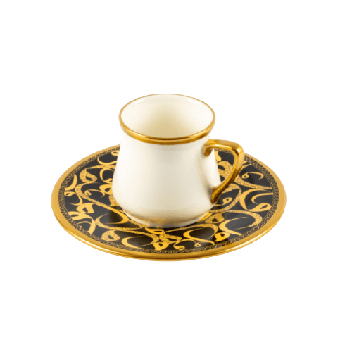 COFFEE CUP SET PRINTED SAUCER WITH GOLDEN HAND