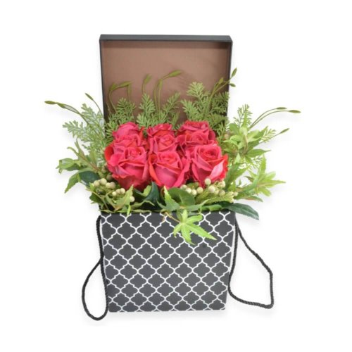 LOVELY RED FLOWERS IN A BOX