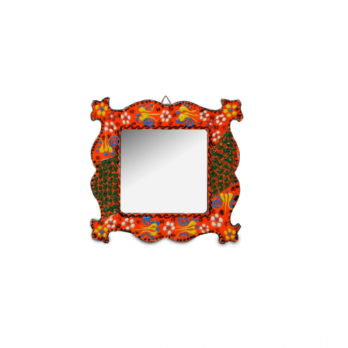 SMALL HAND PAINTED RED MIRROR