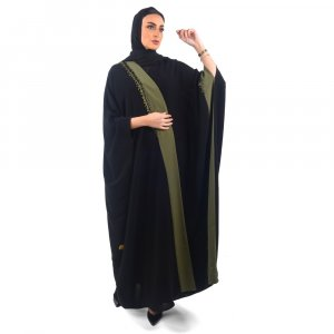 ABAYA EVENING OVERLAPPED WITH GRAY FABRIC AND ONE SIDE BEADS OLIVE GREEN A0119