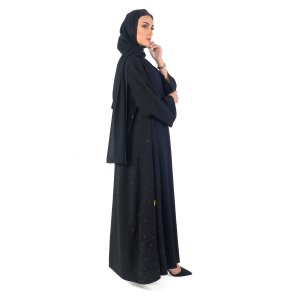 ABAYA EVENING OVERLAPPED WITH SIDE EMBROIDERY AND SEQUINS BLACK A0089