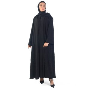 ABAYA EVENING OVERLAPPED WITH FULL BLACK EMBROIDERY AND SEQUINS BLACK A0150