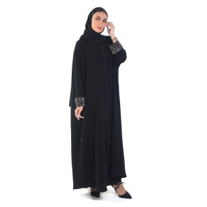 ABAYA EVENING OVERLAPPED WITH BEADED CUFF IN TAFETTA FABRIC GOLD A0103
