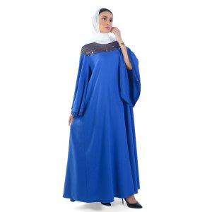 JALABIYA TREND A LINE WITH SHEER SHOULDER , SEQUINS DETAILS BLUE J0052