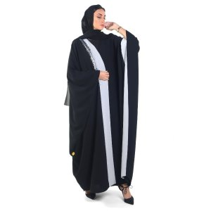 ABAYA EVENING OVERLAPPED WITH GRAY FABRIC AND ONE SIDE BEADS GRAY A0119