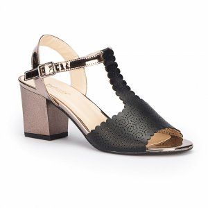 WOMEN SANDALS CHUNKY HIGH HEELS WITH METALLIC BROWN STRAP BLACK