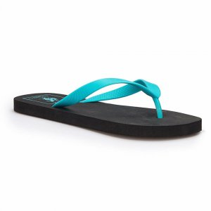MEN SLIPPERS WITH BLUE STRAP BLACK
