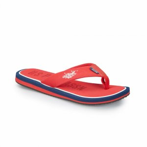 MEN SLIPPERS WITH BLACK OUTSOLE RED