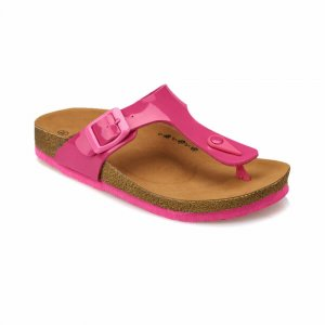 SLIPPERS FOR GIRLS WITH BROWN SOLE FUCHSIA