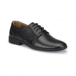 MEN SHOES LEATHER WITH CURVE TOE BROWN LINING PLAIN BLACK