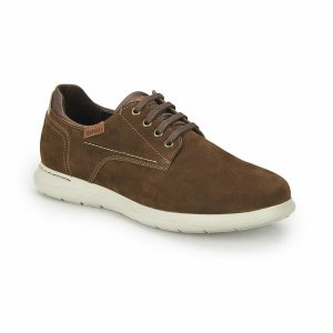 MEN SHOES SNEAKERS WITH WHITE SOLE BROWN