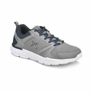 MEN SHOES WITH NAVY BLUE LACE AND HEEL COLLAR GREY