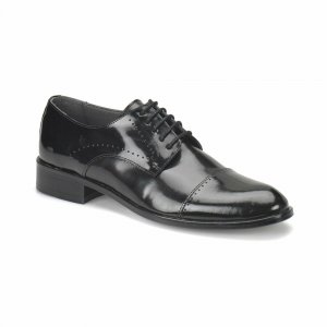 MEN FORMAL SHOES SHINNY BLACK WITH LACE DESIGN