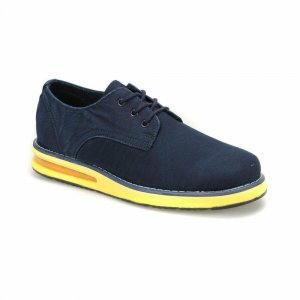 MEN SHOES NAVY BLUE IN DENIM DESIGN WITH YELLOW OUTSOLE