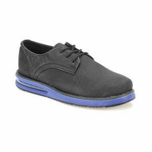 MEN SHOES BLACK IN DENIM DESIGN WITH BLUE OUTSOLE