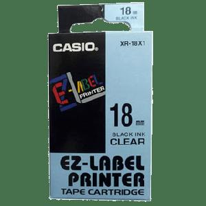 CASIO LABEL TAPE BLACK ON CLEAR XR-18X1-W-DJ1