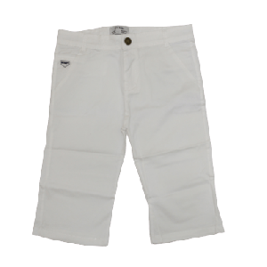 BOY SHORT WITH POCKET AND SMART EMBROID WHITE