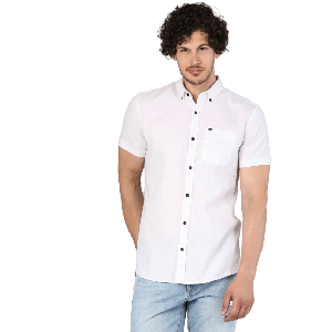 MEN SHIRT SHORT SLEEVE WHITE WITH BLACK BUTTONS