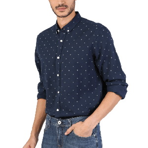 MEN SHIRT LONG SLEEVE WITH WHITE DOTS DESIGN NAVY