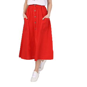 WOMEN SKIRT WITH BUTTONS DARK CORAL