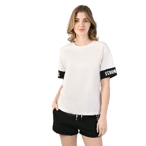 WOMEN T-SHIRT SHORT SLEEVE WITH STRONG GIRL PRINT END SLEEVE WHITE