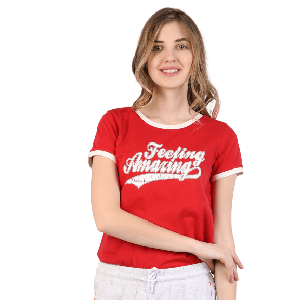 WOMEN T-SHIRT SHORT SLEEVE WITH FEELING AMAZING PRINT DESIGN RED